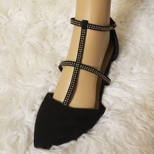 Strappy pointed studded black flats